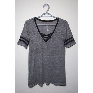 SO - XS - Relaxed Sporty Tee - Heather Gray/Black